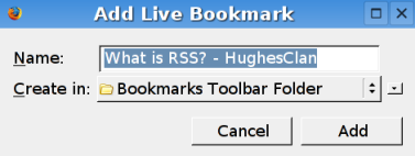 Add Live Bookmark