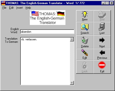 THOMAS: The English-German Translator Screenshot